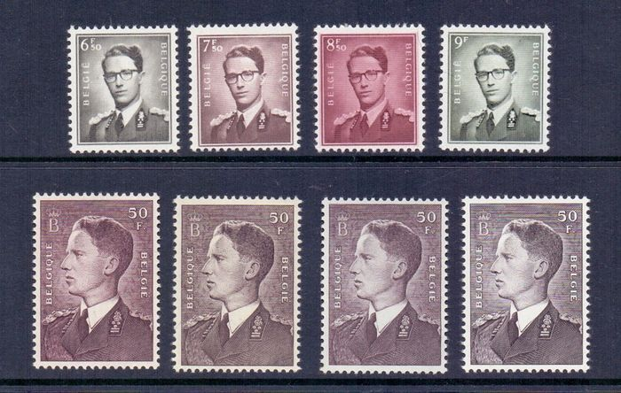 Belgium 1952/1958 - King Baudouin first stamp and 'Marchand' four highest denominations - OBP / COB 879 + 879A + 879AP3 + 879AP5 + 1069A + 1070 + 1072 + 1073