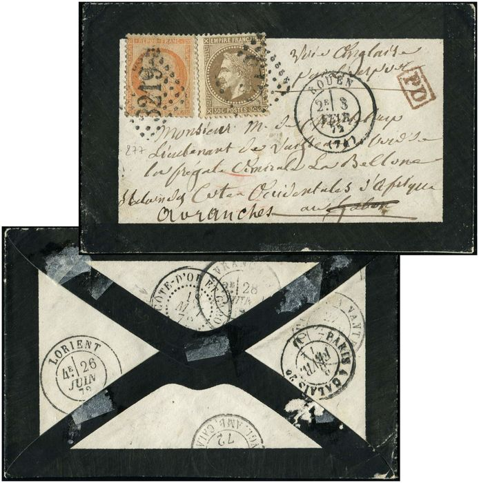 "France - and 38, postmarked ""GC 3219"" date stamp T17 Rouen 3/2/72 for a Lieutenant of a West African coast - Yvert 30"