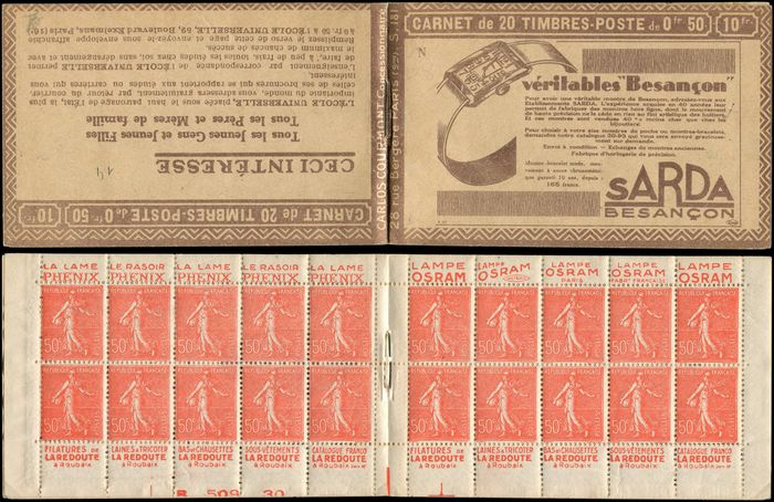 France - Semeuse with lined background 50 centimes red, no. 199e T IIB on 181-N SARDA, bottom of sheet B 509 - Yvert 199-C37