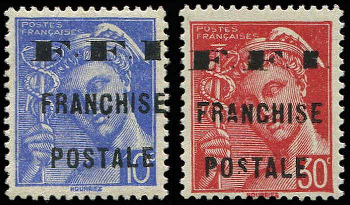 France - 10 cts blue and 30 cts red VF - Maury 1/2