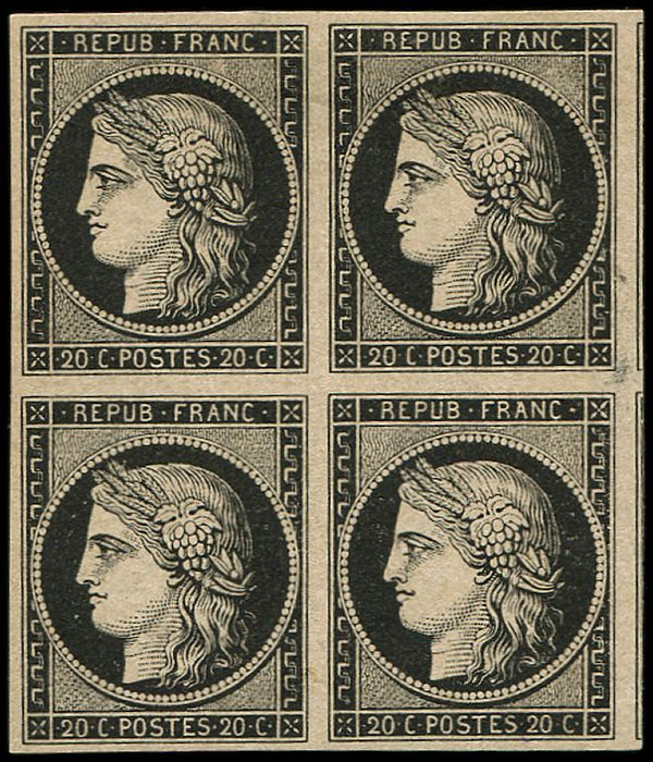 France - 20 centimes black on yellow. BLOCK of 4 with 2 neighbour borderlines on the right. VF - Yvert 3