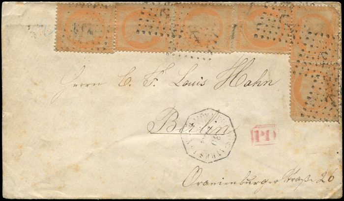 France - (6) postmarked Anchor on envelope, date stamp Octog. Buenos-Ayres/(PAQ FR _) 30/12/(71) bound for Berlin. - Yvert 38