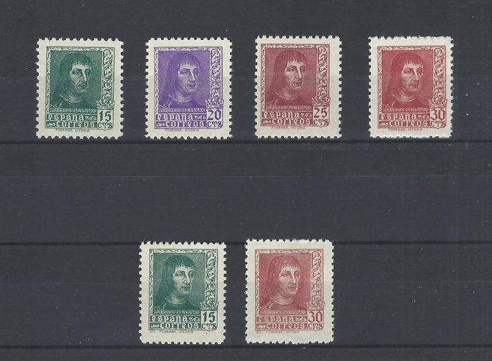 Spain 1938 - Ferdinand II the Catholic complete set, well centred - Edifil 841/44 + 841A-844A