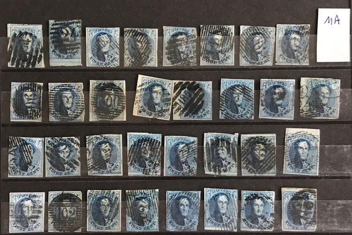 Belgium 1858 - Medallion - Lot with cancellations on medallion 11A : 39 pieces perception, distribution, sheet edge - OBP / COB 11A