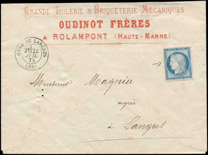 "France - Not postmarked on  envelope ""Tuilerie Briqueterie"" in Rolampont date stamp of the railway station of - Yvert 60A"