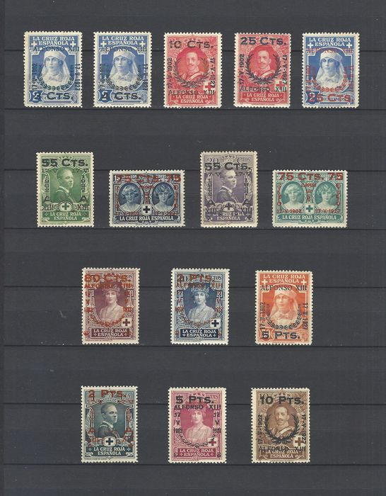 Spain 1927 - Red Cross complete set with authorisation (overprints) - Edifil 373/387