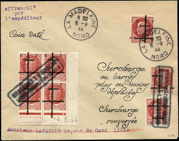 France - 1.50 francs brown-red Block of 4 CD + unit + overprint inverted + F.R. variety postmarked on - Maury 1
