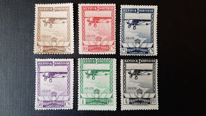 Spain 1929 - Pro exhibitions in Seville and Barcelona Complete set of 6 values. - Edifil 448/453