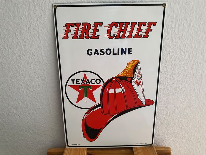 Emaille Schild TEXACO Gasoline Fire Chief, Made in USA, Enamel Sign, Reclame borden, Plaque Emaillee - Texaco - 1980-1990