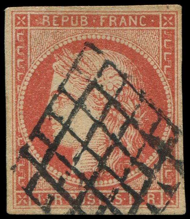 France - 1 franc VERMILION, postmarked Grid, pretty shade. very fresh and VF+, certified Calves - Yvert 7