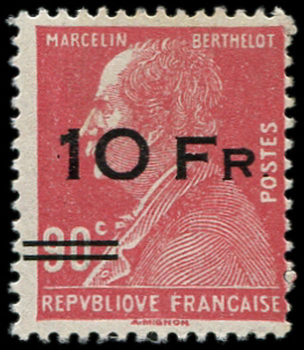 "France - 10 francs on 90 centimes red, Berthelot. ""Ile de France"". VF - Yvert 3"