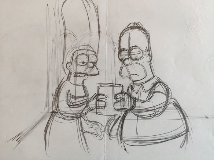 The Simpsons - Original Animation Art drawing - Homer and Marge - First edition