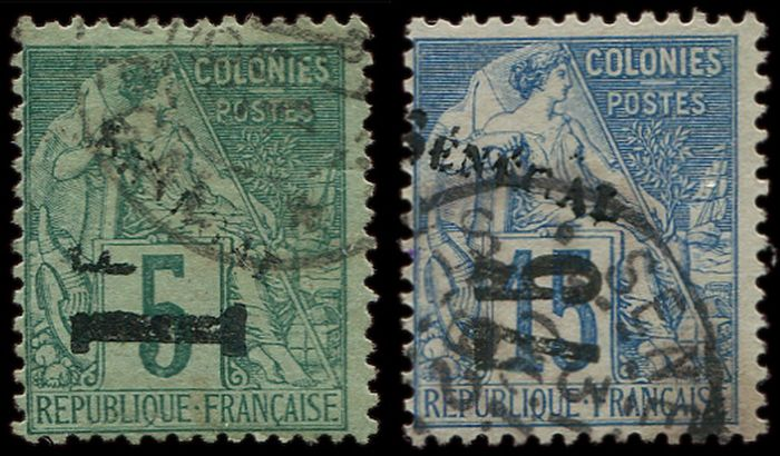 Senegal - 75 on 15 cts blue and 1 franc on 5 cts green, postmarked VF - Yvert 6/7
