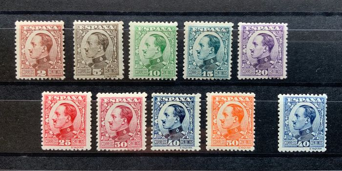 Spain 1930/1931 - Alfonso XIII, 'Vaquer' type in profile - Edifil 490/498 + 497A