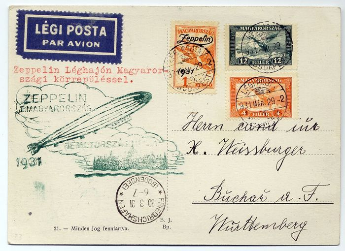 Hungary 1931 - Zeppelin : LZ 127 : Landing flight to Hunghary : illustrated card sent from Budapest to Buchau - Sieger 103 a , Michel 163 A a