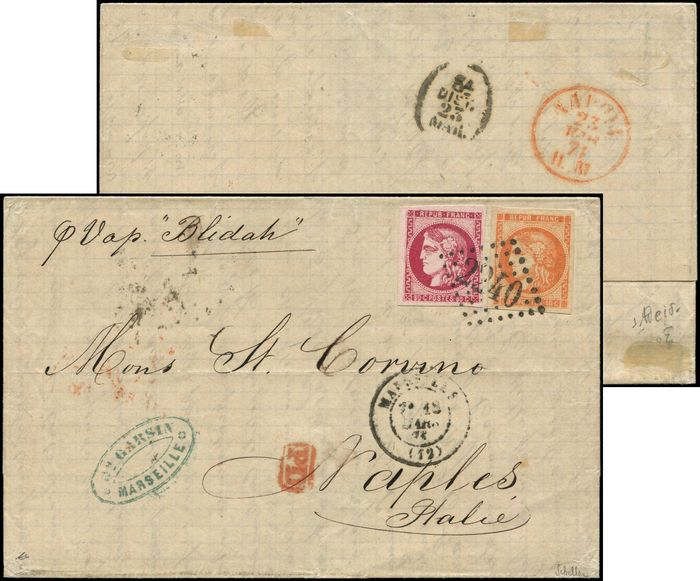 France - and 49 cts 40 cts orange and 80 cts reddish-pink, postmarked GC 2240 on LAC, i.e. Marseille 18/3/71. arr. NAPOLI - Yvert 48