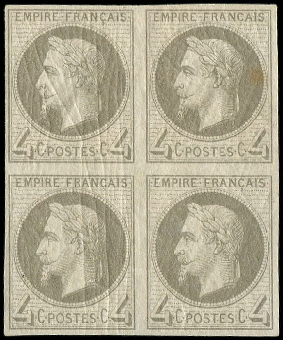 France - 4 centimes grey ROTHSCHILD Block of 4, one copy with light foxing, the others VF - Yvert R27Bf