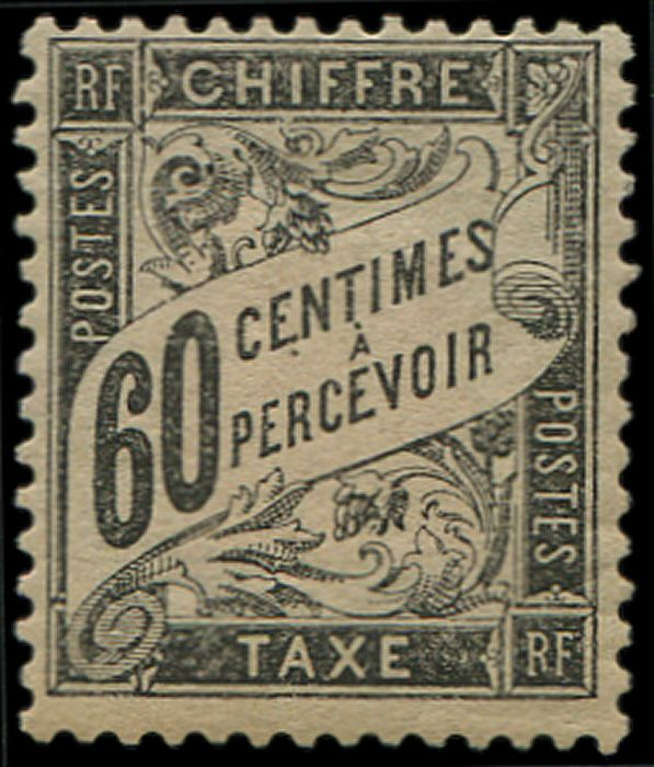 France - 60 cts black. strong adh. otherwise VF - Yvert 21