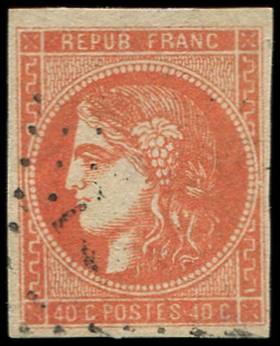 France - 40 centimes Light blood red, light postmark, very pretty shade, Calves certificate. VF - Yvert 48d