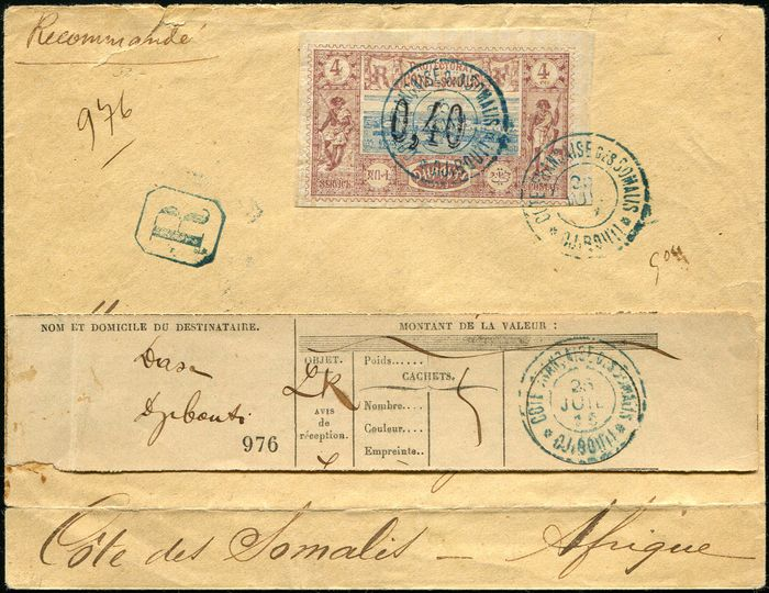 Coast of the Somalis - French Protectorate - 0.40 on 4 cts postmarked, i.e. DJIBOUTI on envelope Rec. with notice of receipt. VF - Yvert 22