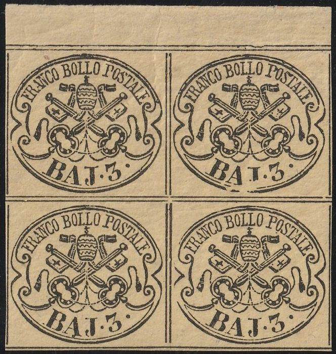 Italian Ancient States - Papal State 1863 - 3 baj chrome yellow, block of four, sheet margin, new with gum, 2 MNH** + 2 MLH* - Sassone N.4A