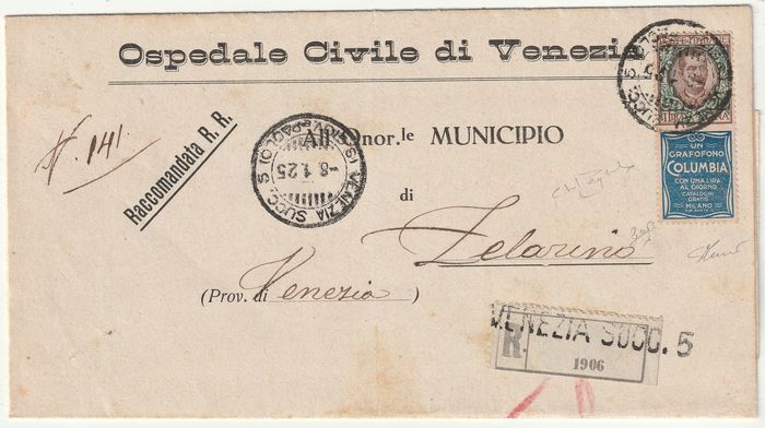 Kingdom of Italy - Advertising 1925 - 1 l. COLUMBIA isolated on registered letter dated 8-1-25 from Venice to Zelarino, rare and certified - Sassone N.19