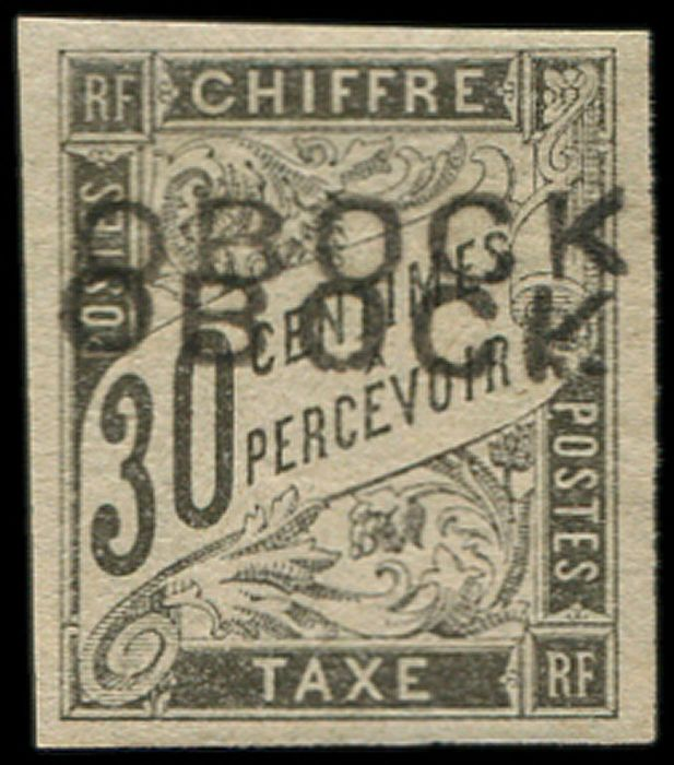Coast of the Somalis - French Protectorate - 30 cts black DOUBLE overprint VF Br - Yvert 13a