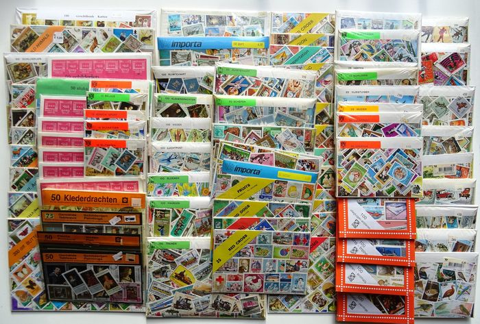 Thematic - Selection of eighty packages from an old trading inventory: 10, 25, 50, 100, 200 different stamps