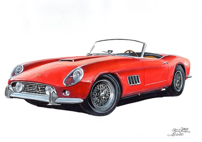 Original Drawing Ferrari California By Baes Gerald Catawiki