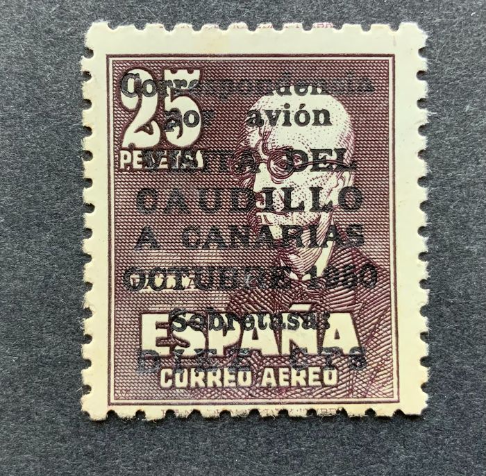 Spain 1951 - 'Visita del Caudillo a Canarias' (Visit of Franco to the Canary Islands) airmail with number - Edifil 1090