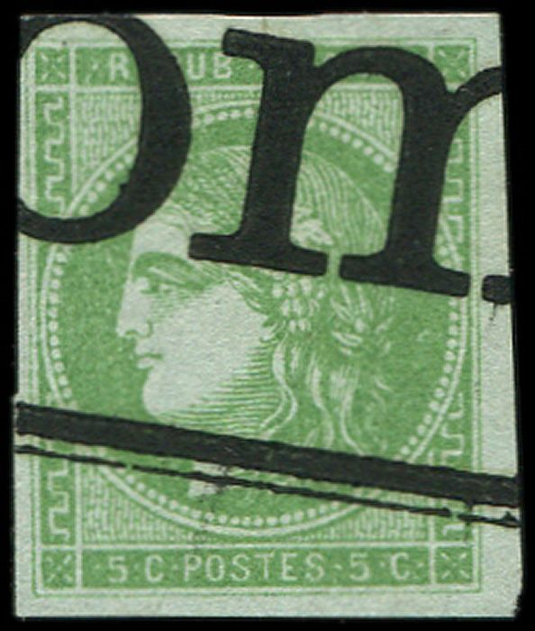France - 5 centimes green-yellow Transfer II. Cancelled TYPO. VF - Yvert 42B