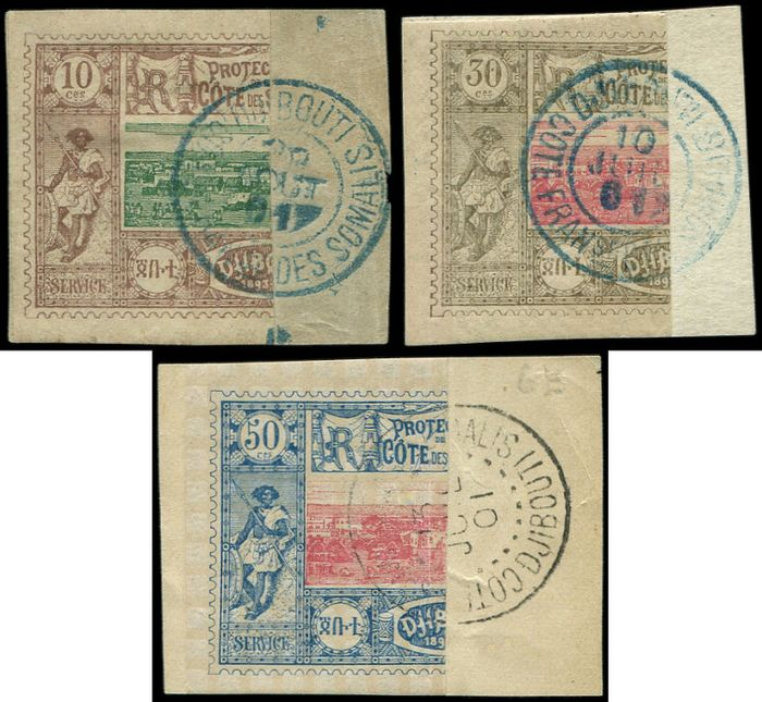Coast of the Somalis - French Protectorate - halves of 10 centimes 30 centimes and 50 centimes, postmarked on 3 fragments VF - Yvert 10bA/15aA