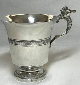French Antique Silver Tankard with Seahorse Handle - Silver - France - 1793-1838
