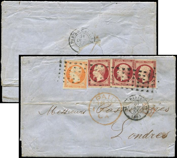 France - 40 cts orange and No.17 80 cts crimson (3) postmarked ROULETTE with large dots on envelope date stamped PARIS arr. LONDON - Yvert 16