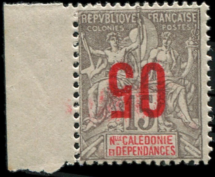 New Caledonia - 05 on 15 centimes grey INVERTED overprint sheet margin VF J - Yvert 105a