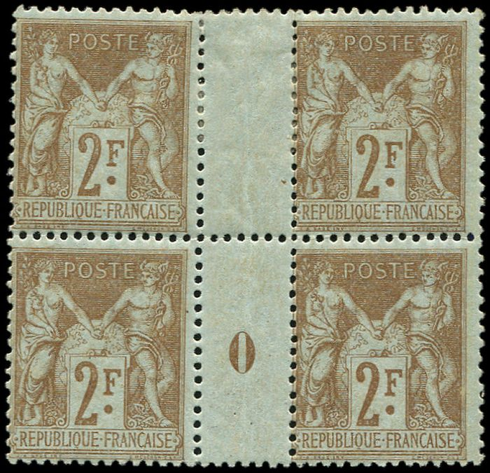 France - 2 francs bistre on azure Block of 4 Mill.0, the upper pair is *. VF - Yvert 105