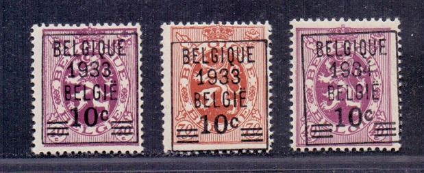 Belgium 1933 - Pre-cancelled Heraldic lion stamps 10c with overprint - OBP / COB 375A/76