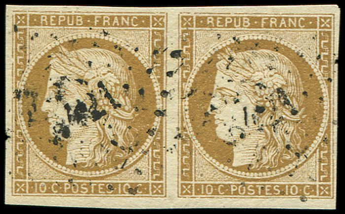 France - 10 centimes bistre-brown PAIR, postmarked PC VF - Yvert 1a