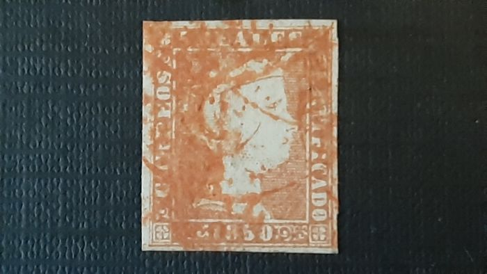 Spain - 1850 - Isabella II, imperforated. Value of 5 r. red. Red circular postmark from Galicia. - Edifil 3