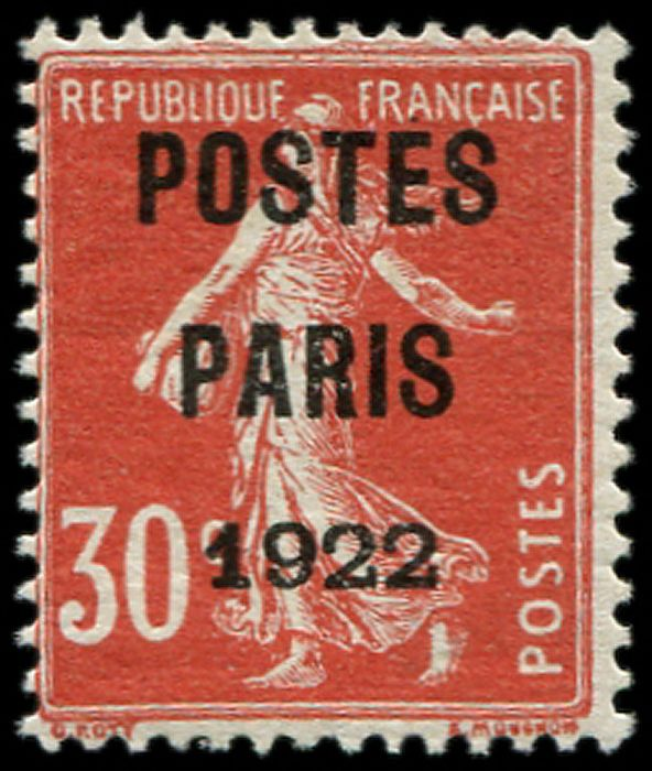 France - 30 cts red 'Postes' Paris 1922 VF Br - Yvert 32