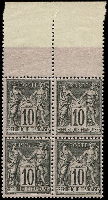 France - 10 cents black on lilac block of 4 sheet margin, very fresh and VF+ - Yvert 89