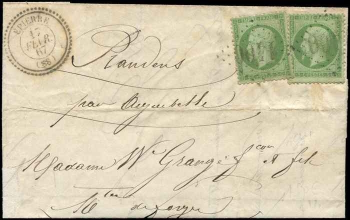 """France - (2) postmarked """"GC 1400"""" on  LAC, date stamp T22 EPIERRE 17/2/67. Very very fine - Yvert 20"""