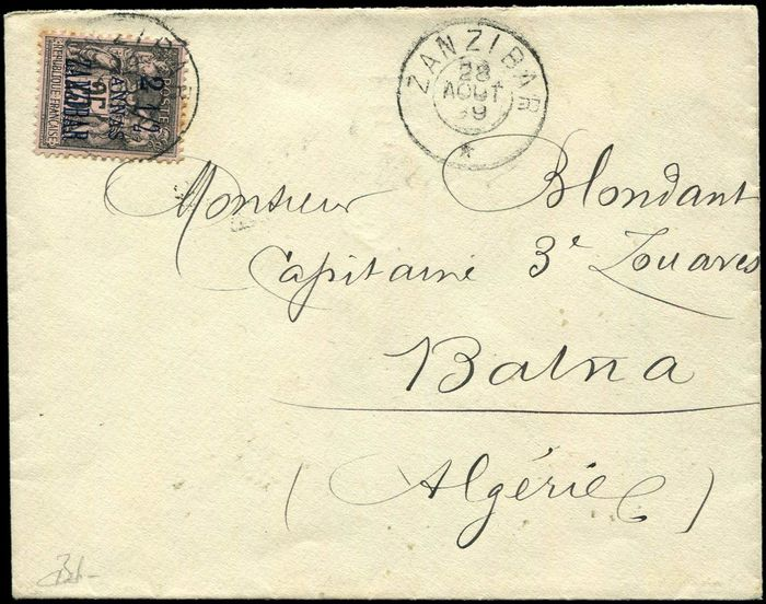 Former French colonies & territories - 2 1/2a on 25 cts black on pink postmarked ZANZIBAR 28/8/99 date stamp on envelope. Arr. BATNA VF - Yvert 24