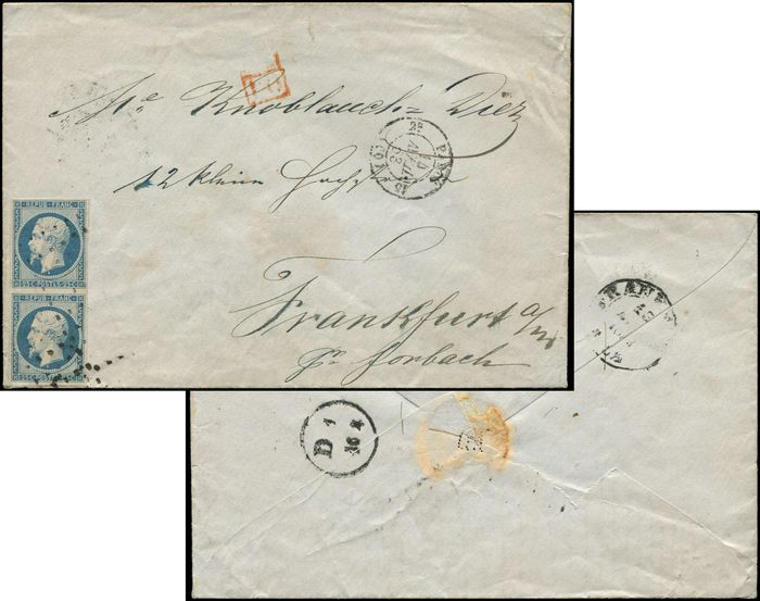 France - 25 centimes blue PAIR, postmarked ROULETTE with large dots on envelope date stamped PARIS 14/4/54. arr. FRANCFORT - Maury 10