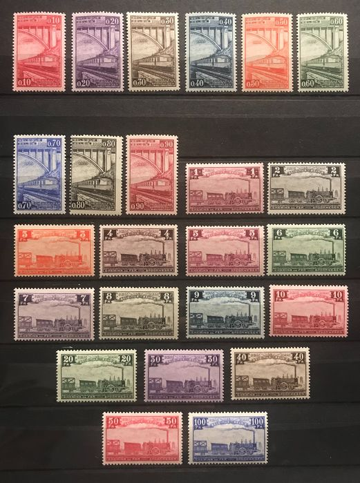 Belgium 1935 - Railway stamps - Centenary of the Belgian railways - MNH - OBP / COB TR178-201