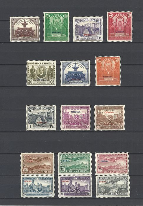 Spain 1931 - Complete official 'Panamericana' sets - Edifil 620/629 + 630/635