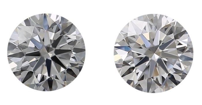 2 pcs Diamants - 1.13 ct - Rond - D (incolore) - IF (pas d'inclusions), ***Free Shipping***