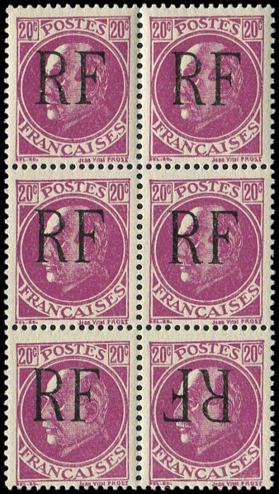 France - 20 cts lilac BLOC of 6 dt 1 overprint inverted VF, signed Mayer - Maury 22