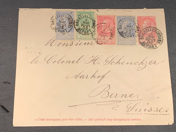 Belgium 1903 - Issue Fine Beard - Letter with multi-coloured postage to Bern (Switzerland) 56, 58, 60
