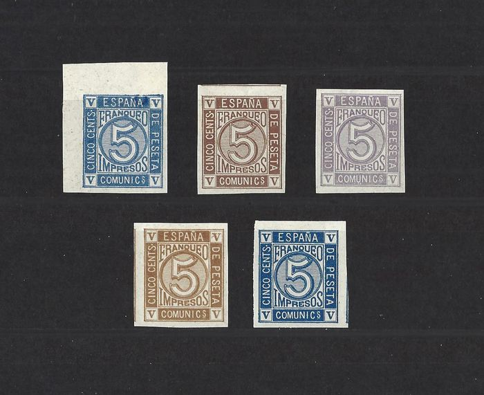 Spain 1872 - Group of essays of the 5 cts stamp with Royal Crown, numerals and Amadeo I - Gálvez 771/75